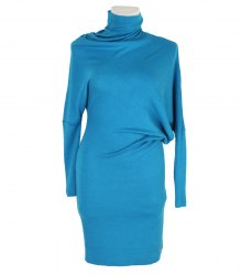 Голубое трикотажное платье с асимметрией Seam 14550