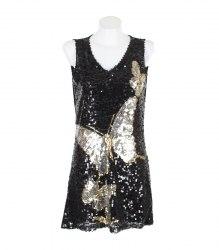 Черное платье с бабочками из пайеток XiaoLi 14690