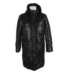 Черное стеганое пальто с капюшоном New Mark 14802