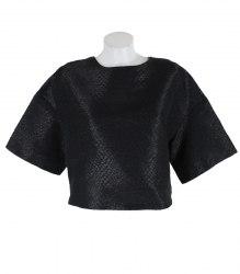 Кроткая черная блуза со змеиным принтом Mohito 15028