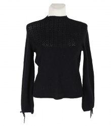 Черный вязаный пуловер с ажурной вставкой Camaieu 15061