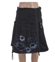 Черная утепленная юбка с серыми цветами D'mols 15123