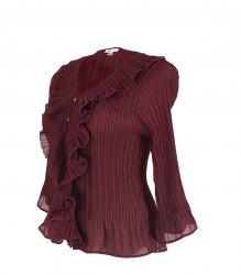 Бордовая блуза с воланами из ткани гофре Jaipur 15277
