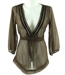 Коричнево-золотистая прозрачная блуза Sirup 3476