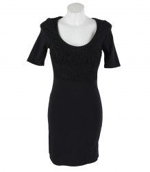 Черное трикотажное платье с гипюровой вставкой Tally Weijl 15811