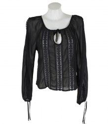 Черная шифоновая блуза с кружевными вставками RUTA 15840