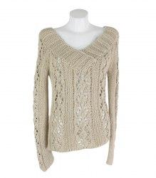 Бежевый вязаный пуловер Mango 15939