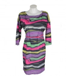 Трикотажное платье в разноцветную полоску Chewal 15987