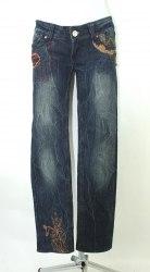 Темно-синие джинсы с аппликацией и жатым эффектом New jeans 3531