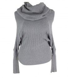 Серый свитер с рукавом летучая мышь и объёмным воротом Miss Two 16095