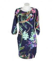 Трикотажное синее платье с цветочным принтом Piena 16126