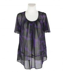 Фиолетово-черная шифоновая блуза F&F 16181