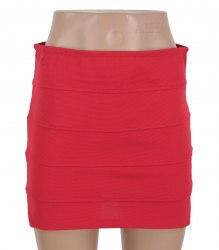 Короткая красная трикотажная юбка Oodji 16245