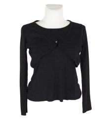 Черный трикотажный пуловер с двойным эффектом Marks&Spencer 16340