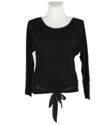 Черный трикотажный пуловер с завязками внизу Nishi by Duse 16379