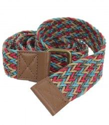 Разноцветный ремень плетенка None 16521