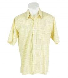 Желтая рубашка в клетку с коротким рукавом Van Heuse 16589