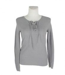 Серый трикотажный пуловер на шнуровке Street One 16664
