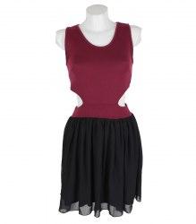 Трикотажное бордово-черное платье с открытыми боками Miso 16850
