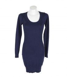 Синее трикотажное платье с длинным рукавом AJC 16910