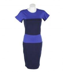 Комбинированное синее платье с коротким рукавом Elegance 16912