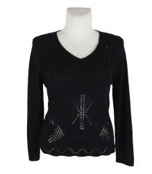 Черный вязаный джемпер с вышивкой CPM collection 17176