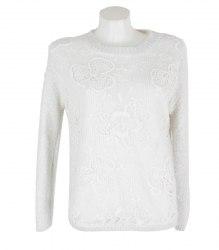 Вязаный пуловер с цветочной вставкой спереди Olko 17244