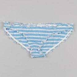 Голубые в белую полоску плавки для девочки с рюшами по краям Zippy 4217