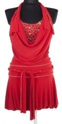 Нарядное красное платье декорированное золотистой тесьмой None 4377