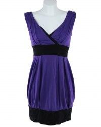 Фиолетовая трикотажная туника на черном манжете E-vie 5285