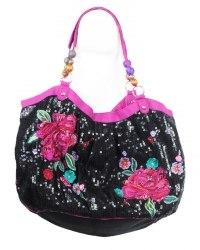Черная сумка из текстиля с вышитыми цветами декорированная пайетками и бисером Accessorize 5490