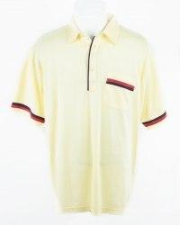 Желтое поло декорированное красной и фиолетовой полосами Chums 5686