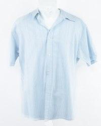 Голубая рубашка в сине-белую полоску с коротким рукавом Urban Spirit 5688