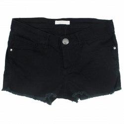 Короткие черные шорты декорированные бахромой по низу штанин Jennyfer 5749