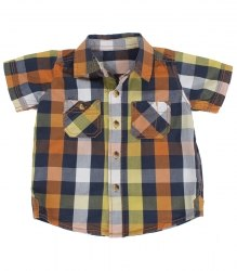 Рубашка в клетку на кокетке с коротким рукавом на малыша Nutmeg 5989