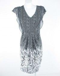Черное трикотажное платье в белый горошек O'STIN 6181