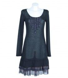 Черное трикотажное платье с длинным рукавом Broadway 7131