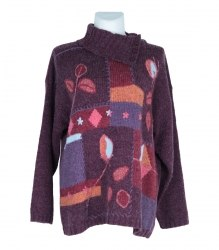 Вязаный свитер с орнаментом спереди Celaia 7373