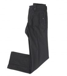 Черные в полоску брюки с декором на карманах Zara 8431