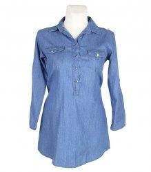 Удлиненная джинсовая рубашка Sensi Wear 8484