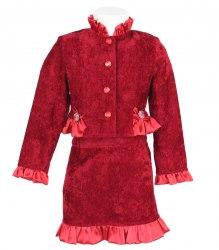 Нарядный велюровый комплект на девочку: жакетик и юбочка Попелюшка 9838