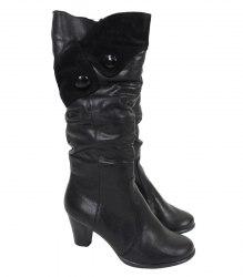 Зимние сапоги на каблуке с замшевой вставкой(и 2мя черными пуговицами) Yefim Garanin 11070