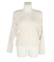 Молочный вязаный пуловер из буклированной пряжи Promod 11138