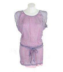 Шелковое серо-розовое платье Naf Naf 11602