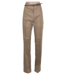 Коричневые хлопковые брюки с тонким пояском Camaieu 2688