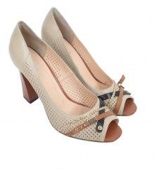 Бежевые туфли с треугольным каблуком Nadi Bella 11907