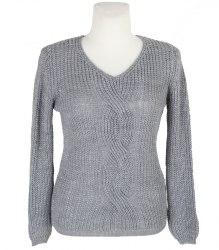 Вязаный серебристо-серый пуловер Nez star 12435