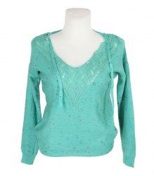 Зеленый вязаный пуловер с ажурной вставкой на груди Zakaz 12436