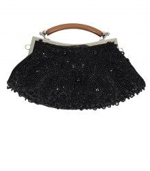 Черная маленькая сумочка-клатч с серебристым фермуаром None 12548