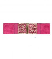 Розовый пояс-резинка с узорной прямоугольной пряжкой None 12559